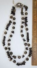 STERLING 925 PEARL & SMOKY QUARTZ BEAD NECKLACE PEARL CLASP DESIGNER #224