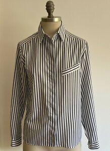 1980s Vintage French Navy/White Striped St Michael Blouse/Shirt Size 14 UK, BNWT
