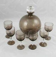 MCM Scandinavian Blown Glass Topaz Decanter & 6 Cordial Glasses