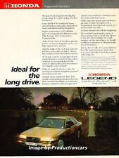 1987 Honda Acura Legend Sedan Original Advertisement Print Art Car Ad J667