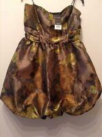 "BNWT "" Miss Selfridge "" Party Ball Dress Size 12 Brown-gold Next Day De.RRP £55"