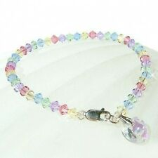 w Swarovski Crystal Pastel Heart Love Petite Sterling Silver Anklet Bracelet NEW