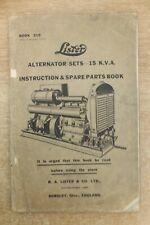 lister 15 KVA diesel alternator plants JP3 engines instruction & parts list book