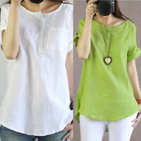 Women Summer Blouse Casual Short Sleeve Loose T Shirt Cotton Linen Blouse Tops