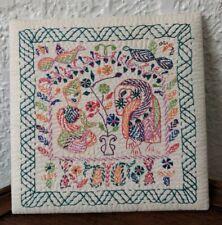 "Modern Middle Eastern Textile Art - Elephant & Man in Turban, 6.25"" x 6.25"""