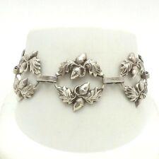 Vintage Sterling Silver Danecraft Acorn Leaves Panel Link Bracelet 7 inch