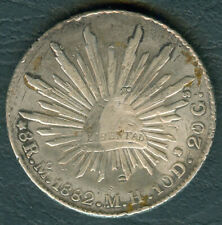 1882 MEXICO 8 Reales Mo MH Silver Mexican Coin w/ Chopmarks