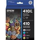 5-PACK Epson GENUINE 410XL Black & 410 Color Ink (NO RETAIL BOX) XP-640