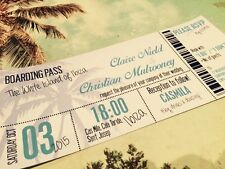 SAMPLE Destination Beach Holiday Abroad Boarding Pass Ticket Wedding Invitation
