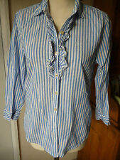 Hollister,Stripe Blue&White Cotton blouse/Shirt,ruffle front,Smart/Casual.