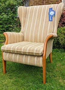 Parker Knoll Froxfield Wing Armchair in Caramel Stripe Wingback Chair