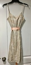 OSCAR DE LA RENTA 100% SILK Blush and White Silk Dress Size 4