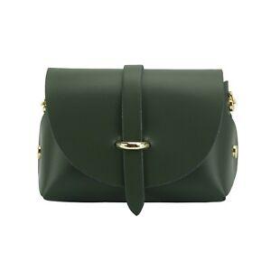 TJS Genuine Leather Mini Crossbody Handbag Clutch Handmade in Italy Dark Green