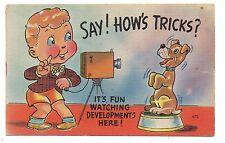 Say How's Tricks Dog Boy Humor Fun Cartoon Comic Vintage Postcard Jan17
