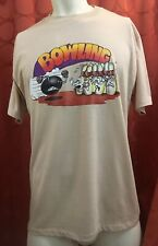 XL VINTAGE NOS Hane's 50/50 Made In USA Beige BOWLING T-Shirt FUNNY GRAPHICS
