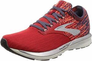 Brooks Mens Ricochet Running Shoes, Red/Orange/Grey