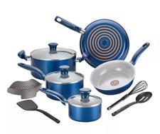 T-fal Cookware Set 12 Piece Non-Stick Pots Pans Aluminum Dishwasher Safe - Blue