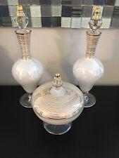 Vintage Iridescent White & Gold Glass Perfume Bottles (2) & Trinket Box Set