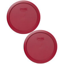 Pyrex 7402-PC Sangria Red Plastic Round Storage Replacement Lid Cover (2-Pack)
