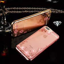 For iPhone 8 7 6S X Luxury Clear Crystal Flower Diamond Soft Silicone Case Cover