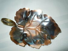 Coppercraft Guild Of Taunton, Ma Nut, Candy Or Trinket Leaf Dish, Brass Handle