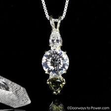 """Phenacite & Moldavite Danburite Radiant Heart Pendant  """"Exquisite & Powerful"""""""