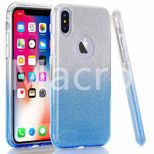 For iPhone X  Full Bling Silver Blue Glitter Sparkle Case Cute Protective Cover