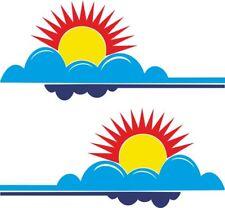 CARAVAN / MOTORHOME | Back Rear Sticker/Decal | Mountain Range,Sun, Sea | BB220