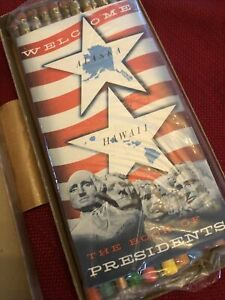 vintage Presidential Pencil Set NIB 60's Blue Bonnet Unopened Book Of Presidents
