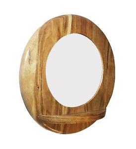 Farmhouse Wooden Wall Mount Round Mirror with Storage Display Shelf Home Decor