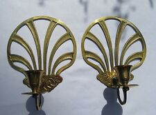Lot of 2 Vintage Brass Wall Sconces Candle Holders Elegant Sea Shell Design