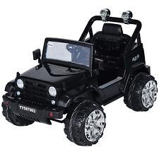 12V Kids Ride on Truck Jeep Car RC Remote Control w/ LED Lights Music MP3 Black