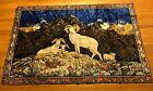 Vintage Bighorn Sheep Velvet Velour Tapestry Wall Hanging Rug HUGE 4'x6' Decor