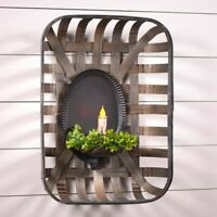 Oval Tinner's Candle Wall Sconce in Smokey Black Tin