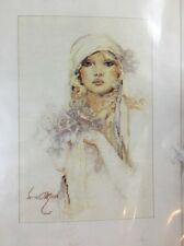 *RARE* LANARTE Lady With Lilac Flower SARA MOON Counted Cross Stitch Kit
