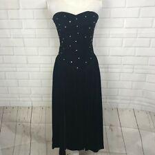 db62661a4 Positively Ellyn Black Velvet Dress Gown Vintage Empire Strapless Women  Size 6