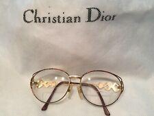 Vtg Christian Dior Gold Metal Womens Eye Glasses Frames Cd Logo 57-15 135Mm