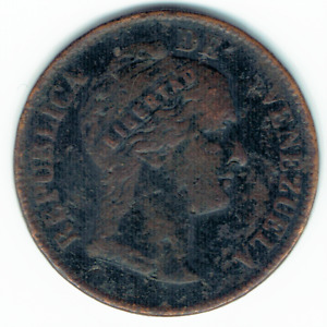 Rare Coin 1863 Venezuela 1 One Centavo Monaguero Black Cent VF Y#7 Dollar