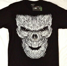 "White skull  "" STUDDED "" Tee shirt  2 sided print  LG 42""-44"" RCST 004"