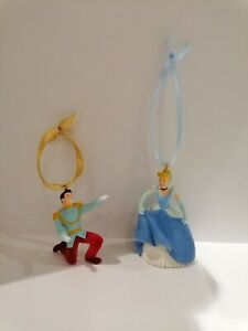 2x Disney Cinderella & Prince Charming Figure FLOCK Christmas Tree Decorations