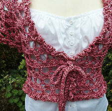 Handmade Dusky Pink Lacey Crop Top / Shrug / Cardigan Quality 100% Cotton Yarn