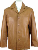 UNICORN Mens Classic Suit Blazer Reefer Real Leather Jacket - Tan #AC