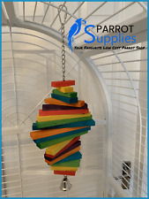 Parrot-Supplies 40cm Cocotte Wooden Chewable Parrot Toy With Bell - 00012