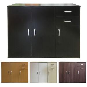 Sideboard Black White Beech Dark Walnut Storage Cabinet Wooden Cupboard Redstone