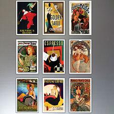 9 vintage rétro AFFICHE PUBLICITAIRE Aimants pour réfrigérateur art déco N°3