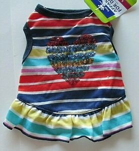 Top Paw Size XSmall Dog Striped Dress Sequin Heart Ruffle NWT Blue Yellow Pink