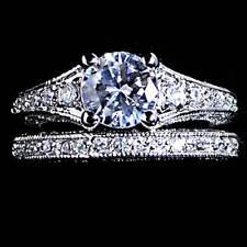 Gorgeous Ornate Brilliant Cut_ Cz Wedding Set_ Sz-9_925 Sterling Silver_Nf
