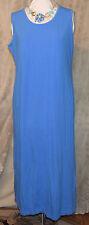 LE COVE BASIC ESSENTIAL MAXI DRESS BLUE COTTON SPANDEX BLEND WASHABLE LARGE NWOT