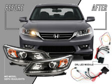 LED DRL Headlight +Adapter Harness Module For 13-15 Honda Accord 4D 4Cyl UPGRADE