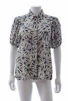 Prada Printed Silk Short Sleeved Shirt / Black, White, Grey / RRP: £750.00